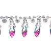 Rhinestone Trim Navette 5Yd Spool 15mm Fuchsia Aurora Borealis/silver